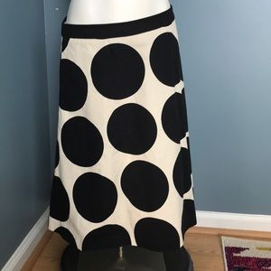 Boden Black & Cream circus dots skirt size 6R